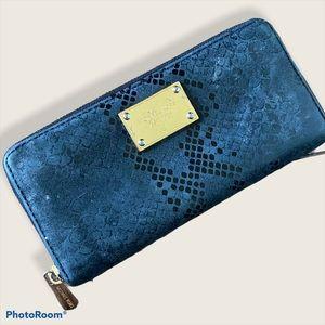 Michael Kors Black Snake Print Zippered Wallet